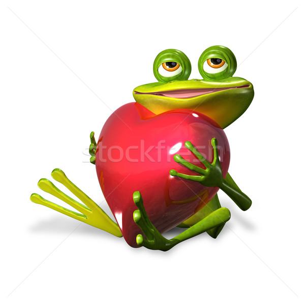 カエル 中心 実例 陽気な 緑 赤 ストックフォト © brux