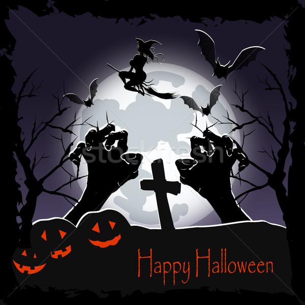 Felice halloween poster illustrazione strega manico di scopa Foto d'archivio © brux