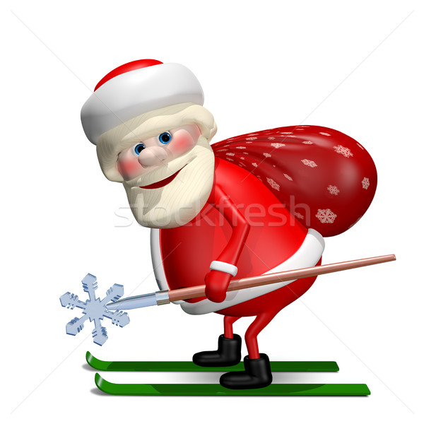 3D Illustration of Santa Claus with a Bag by Ski Stock photo © brux