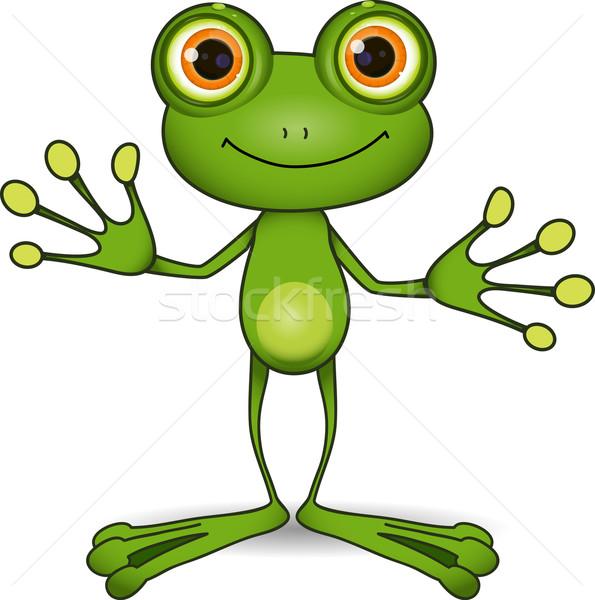 Cute kikker permanente groene grote ogen dier Stockfoto © brux