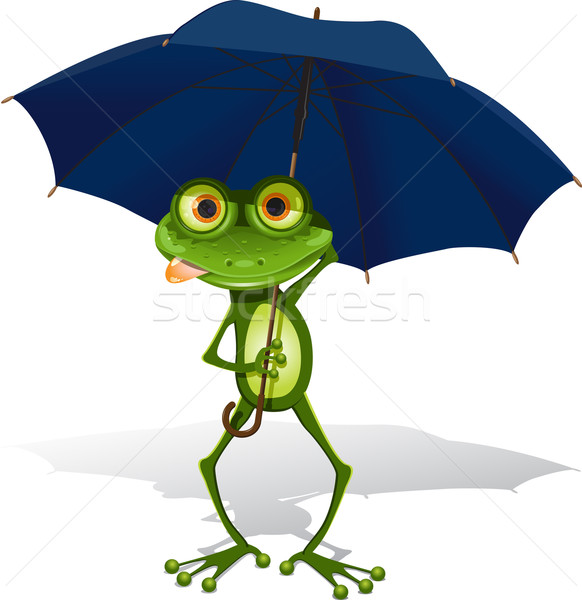 Rana ombrello illustrazione verde blu bianco Foto d'archivio © brux