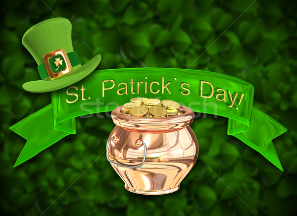 3D Illustration of a Pot of Gold Stock photo © brux