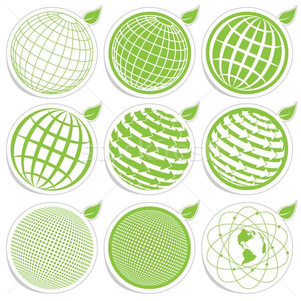 икона мира иллюстрация девять зеленый Сток-фото © brux