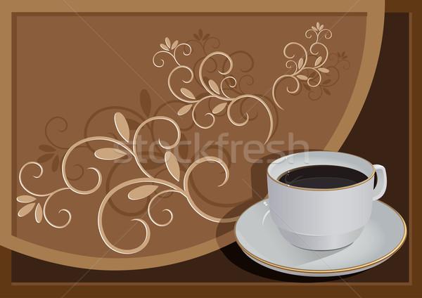 Foto stock: Taza · café · ilustración · marrón · patrón · textura