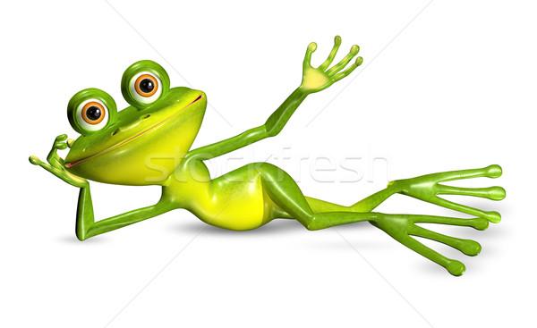 Verde rana illustrazione 3d allegro grandi occhi sorriso Foto d'archivio © brux