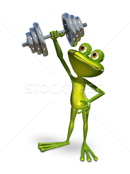 Frog lifts a dumbbell sports Stock photo © brux