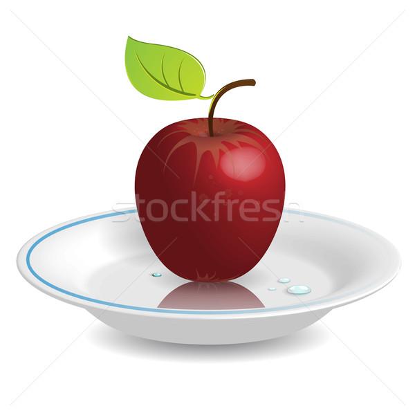 Manzana platillo ilustración manzana roja blanco alimentos Foto stock © brux