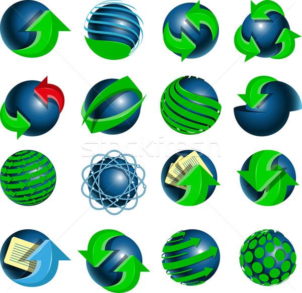Blu verde frecce set mondo Foto d'archivio © brux