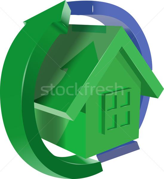 теплица Стрелки иллюстрация зеленый синий дома Сток-фото © brux