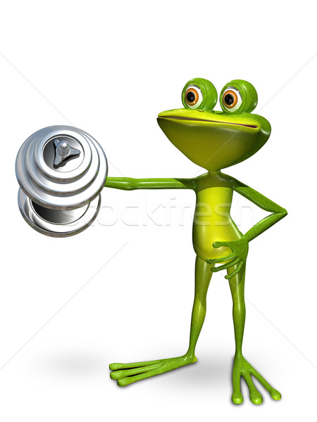 Stock photo: Frog in front of a dumbbell lifts