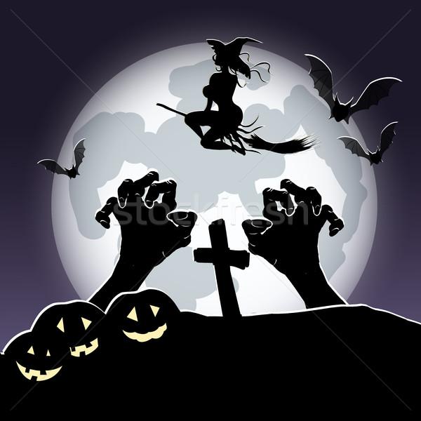 Halloween strega illustrazione manico di scopa sfondo luna Foto d'archivio © brux