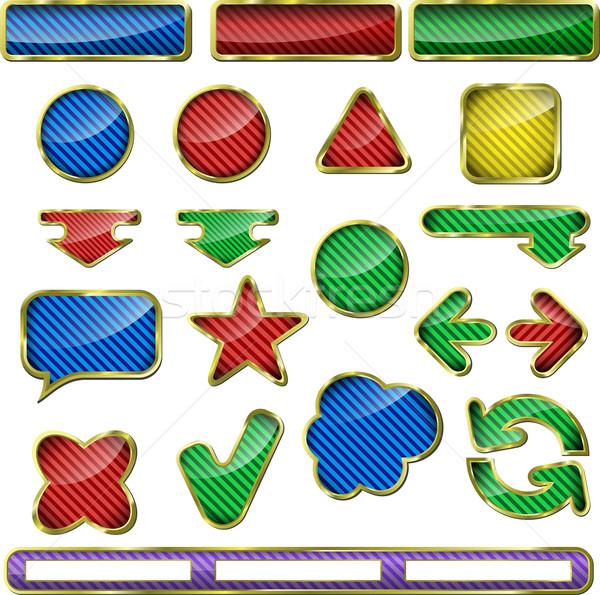 Botão ilustração coleção colorido teia elementos Foto stock © brux