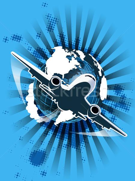 Civile aviazione illustrazione piano blu mondo Foto d'archivio © brux