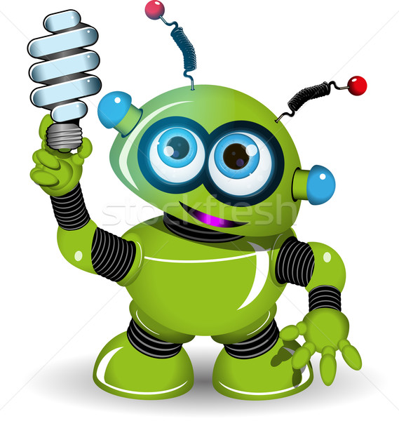 Vert robot lampe illustration métal jouet Photo stock © brux