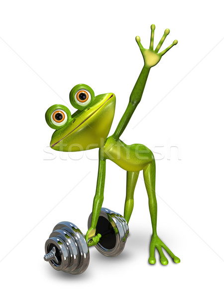 Frog lifts a dumbbell Stock photo © brux