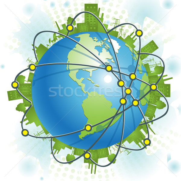 Industriële planeet abstract illustratie groene beschaving Stockfoto © brux