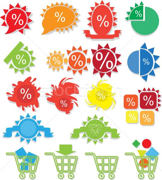 Ikona sklep internetowy ilustracja siedemnaście wielobarwny online Zdjęcia stock © brux