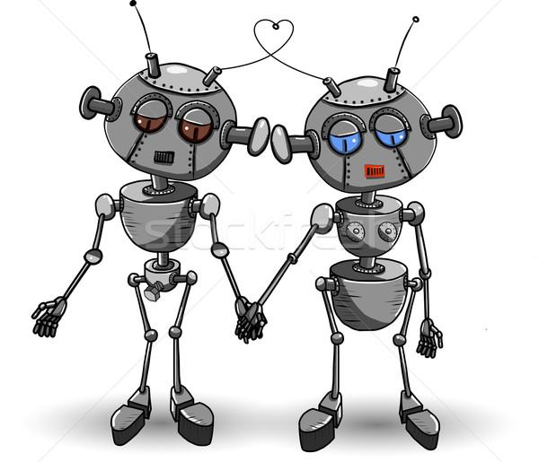 Robotok szeretet absztrakt illusztráció kettő vasaló Stock fotó © brux