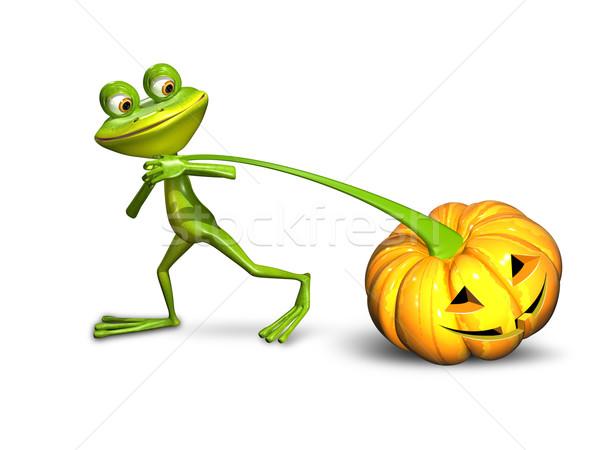 3d illustration of a frog pulling a pumpkin Stock photo © brux