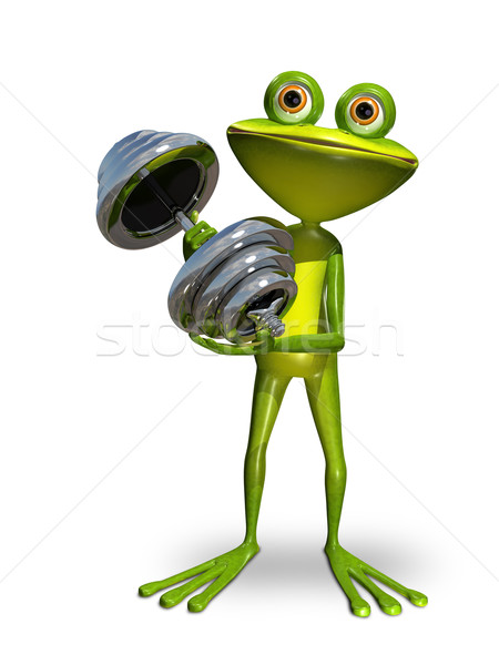Frog with dumbbell Stock photo © brux