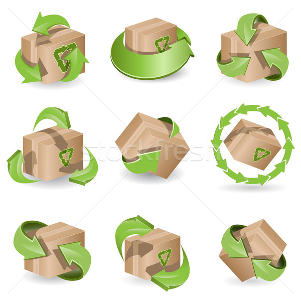set of the icon brown box and green arrows Stock photo © brux