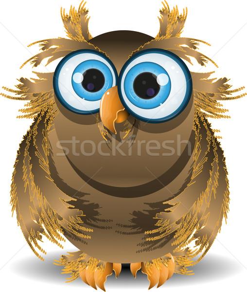 Sábio coruja ilustração olhos azuis floresta pássaro Foto stock © brux