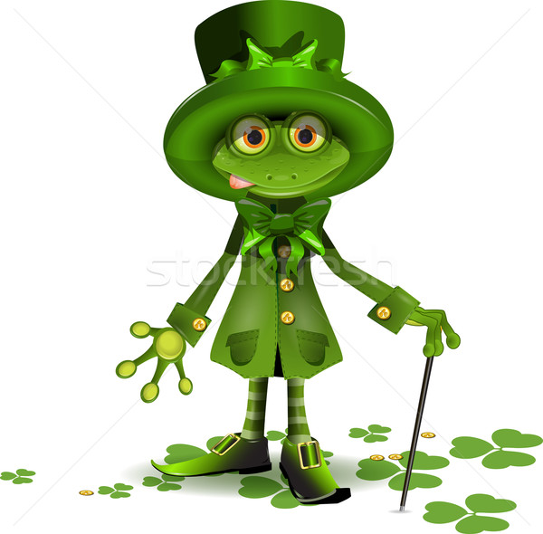 Stock photo: frog in a suit of Santa Patrick
