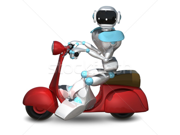 3D Illustration of a Robot on a Motor Scooter Stock photo © brux