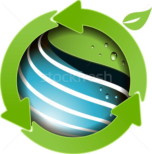 Mondo verde frecce illustrazione abstract blu Foto d'archivio © brux