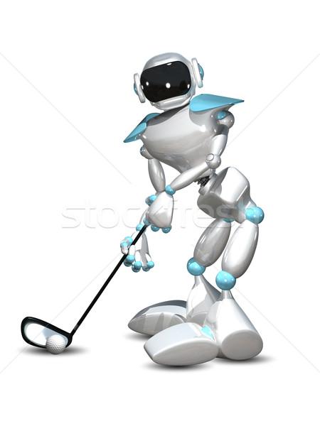 Illustrazione 3d robot golfista bianco computer tecnologia Foto d'archivio © brux