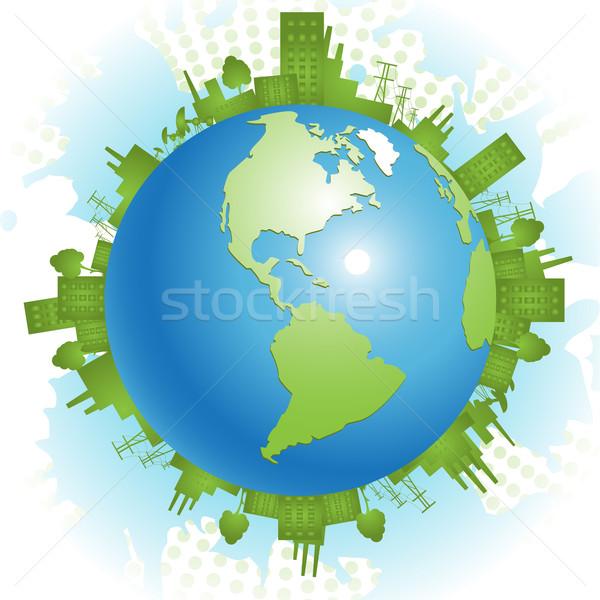 Vert planète résumé illustration civilisation bleu Photo stock © brux