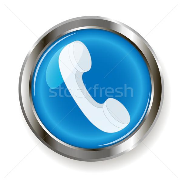 Telefoon buis illustratie Blauw knop telefoon Stockfoto © brux