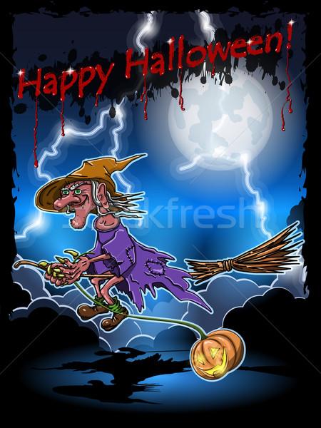 Bruxa cabo de vassoura ilustração assustador céu noturno mulher Foto stock © brux