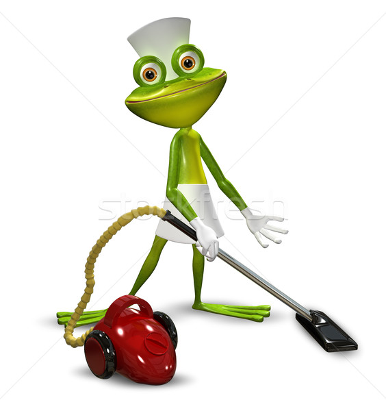 3d illustration of a frog with a maid vacuuming Stock photo © brux