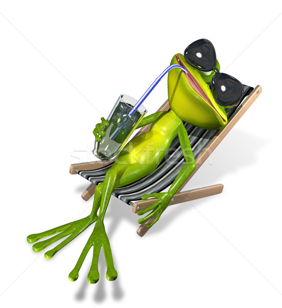 Frosch Liegestuhl Grunen Trinken Sonne Eis