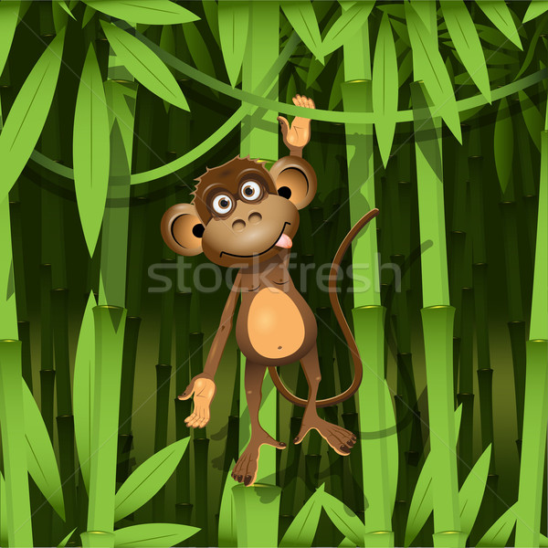 Singe illustration brun jungle sourire nature Photo stock © brux