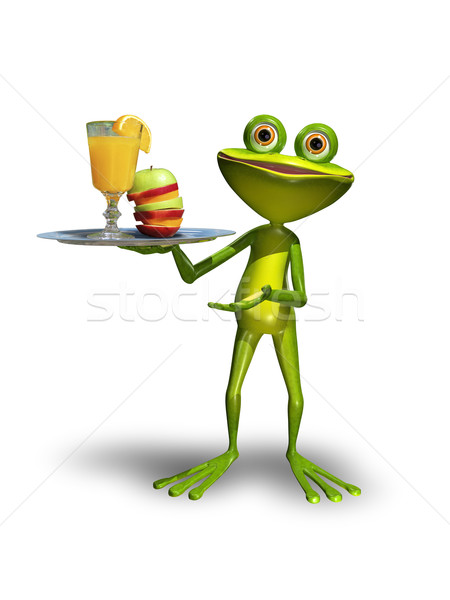 Frog with a tray with juice Stock photo © brux