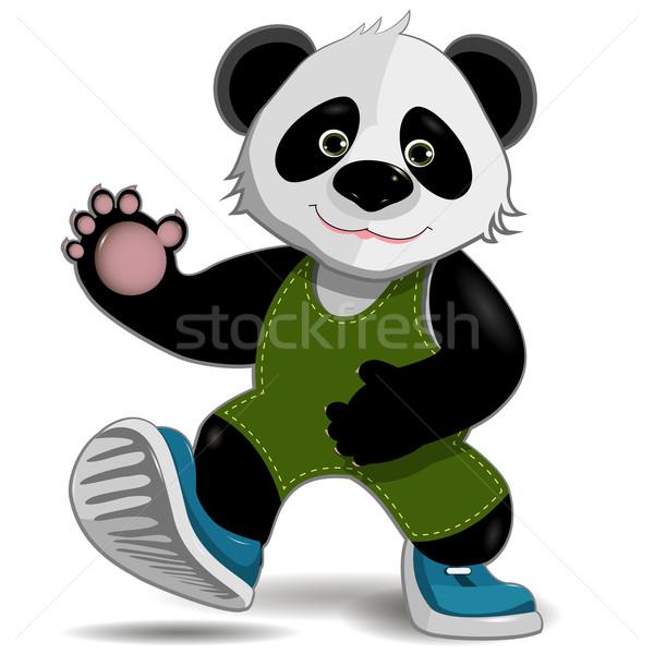 Panda illusztráció aranyos kövér fehér fa Stock fotó © brux
