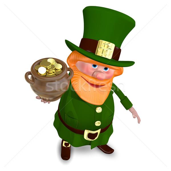 3D Illustration Saint Patrick Raises Pot of Gold Stock photo © brux