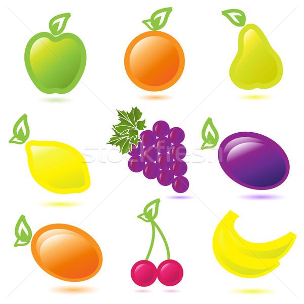 Frutta illustrazione nove bianco uva ciliegio Foto d'archivio © brux