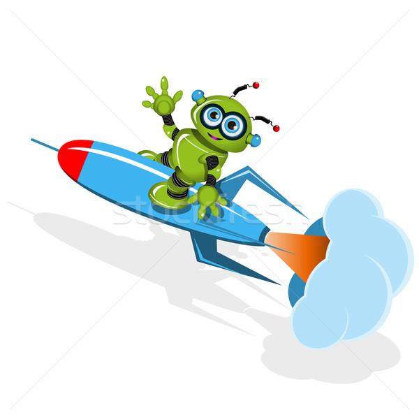 Zöld robot rakéta illusztráció fém tudomány Stock fotó © brux