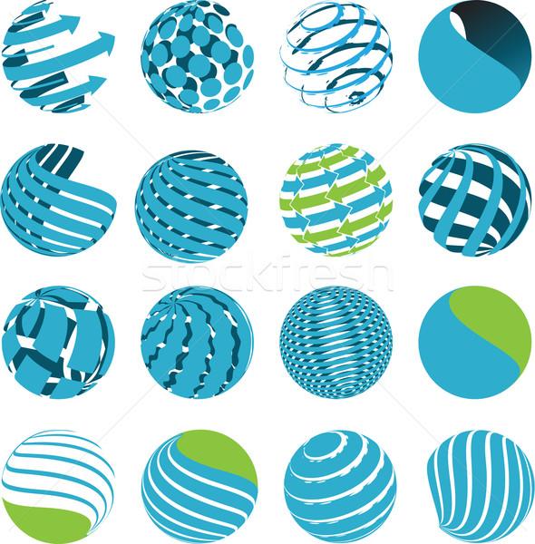 Icone mondo illustrazione sedici anni blu simboli Foto d'archivio © brux