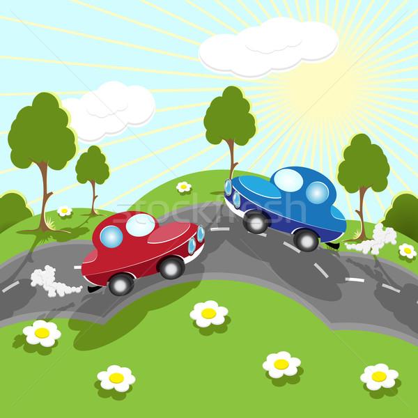 Estrada ilustração vermelho azul carro reunião Foto stock © brux