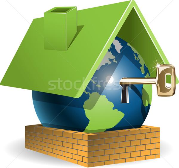 Mondo casa illustrazione blu verde tetto Foto d'archivio © brux
