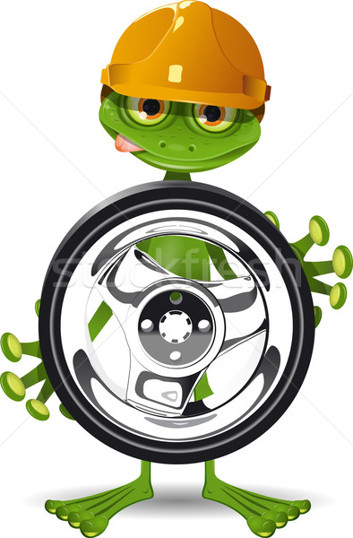 Frog and the wheel Stock photo © brux