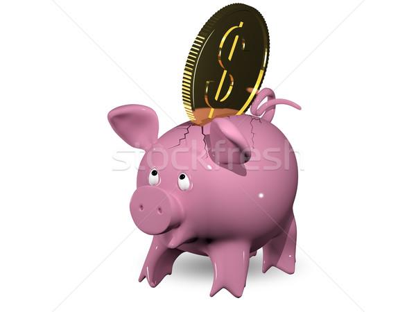 Kapzsiság 3d illusztráció rózsaszín persely üzlet pénz Stock fotó © brux