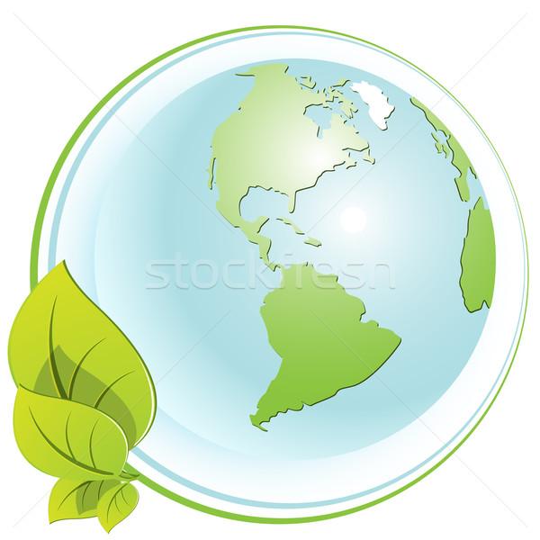 Földgömb absztrakt zöld nyíl térkép kommunikáció Stock fotó © brux