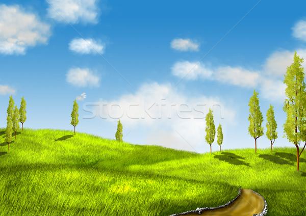 Tájkép illusztráció zöld mező fák út Stock fotó © brux