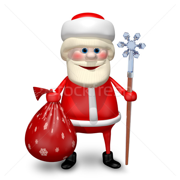 3D Illustration of Santa Claus with a Bag and Staff Stock photo © brux