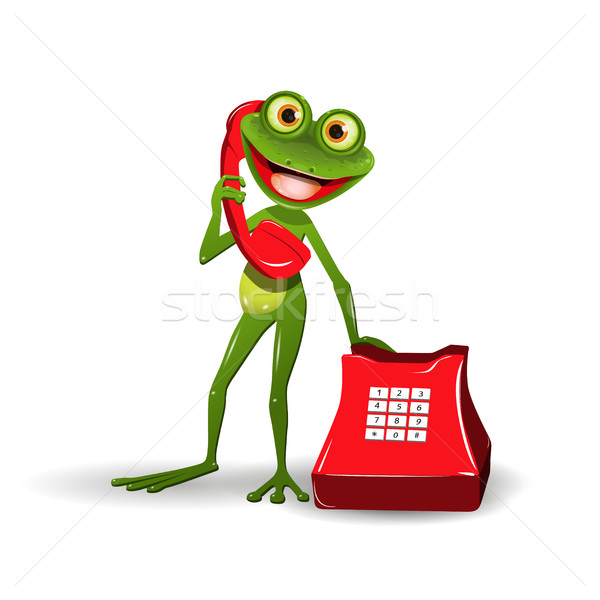 Frog with Red Phone Stock photo © brux